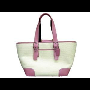 COACH 4468 White Woven Straw Pink Leather Purse